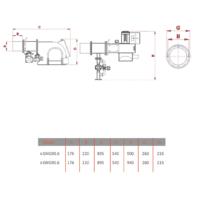 ابعاد ظاهری مشعل نیمه صنعتی گرم ایران